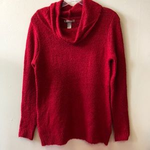Red Sparkle White Stag Cowl Neck Sweater